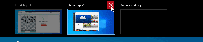 When you close a desktop, all its running applications get transferred to the next closest desktop.