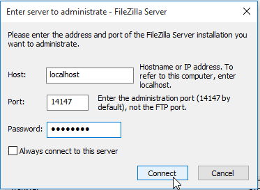Press Connect and Start the FTP server