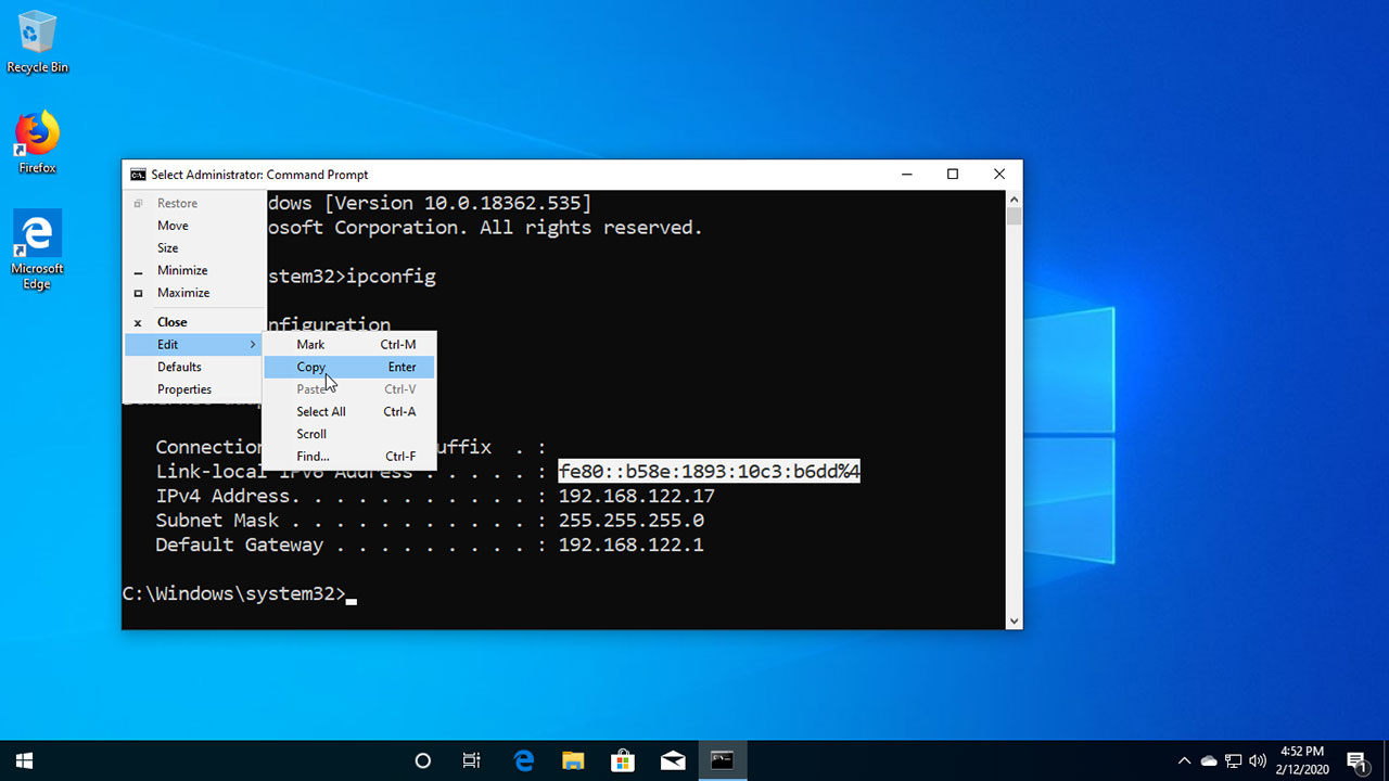 copy from command prompt Windows 10