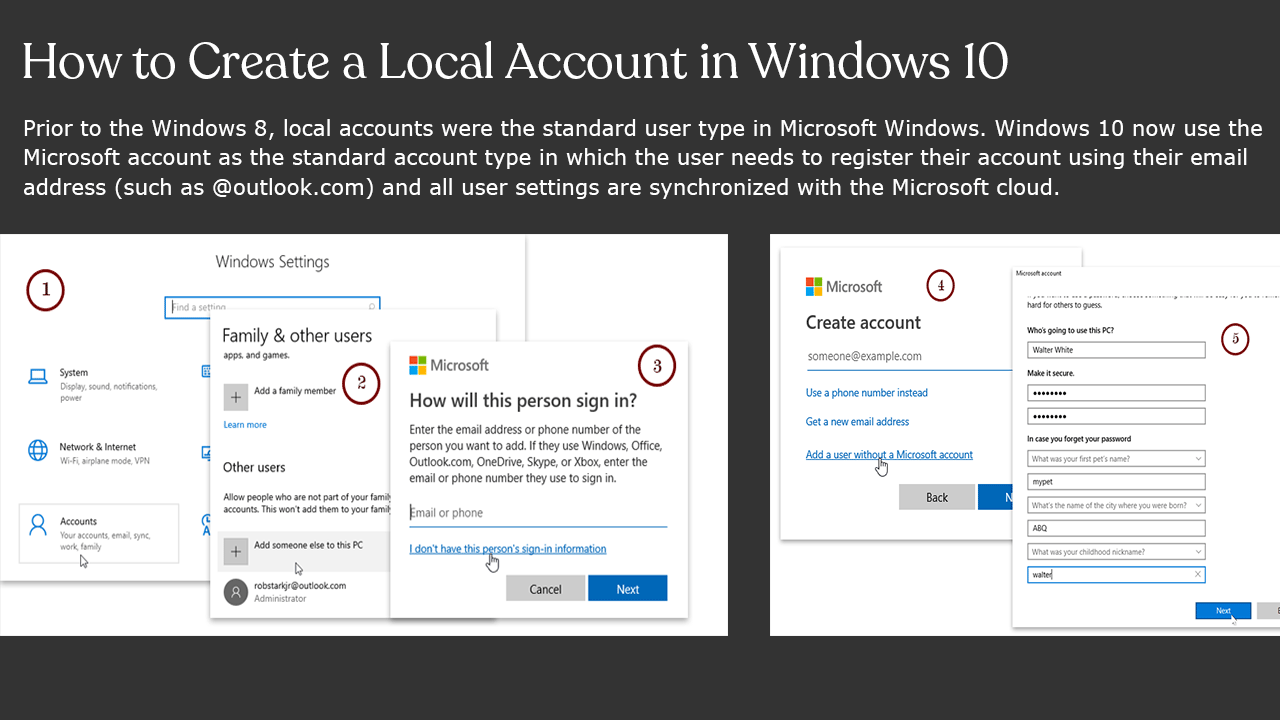 How to Create a Local Account in Windows 10