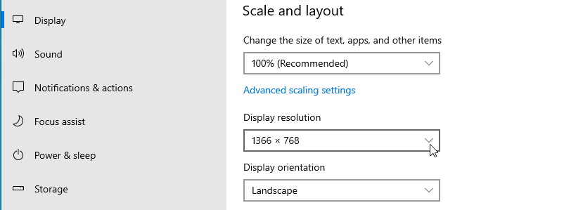 Form Display, scroll down and click on Display resolution drop down menu.