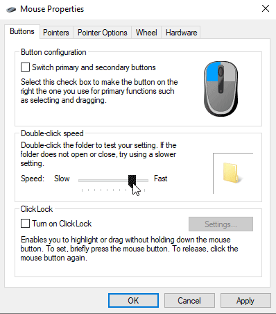 mouse sensitivity windows 10