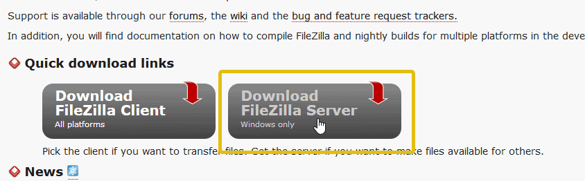 Download FileZilla server for Windows 10