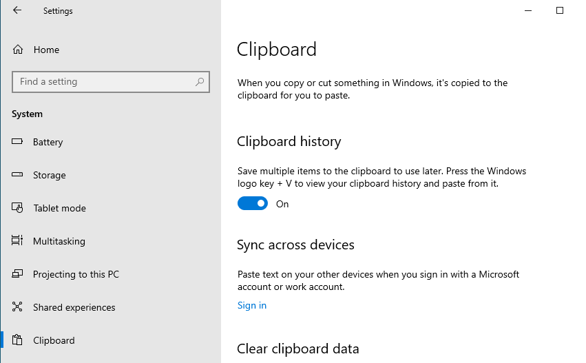 Enable Windows 10 Clipboard history