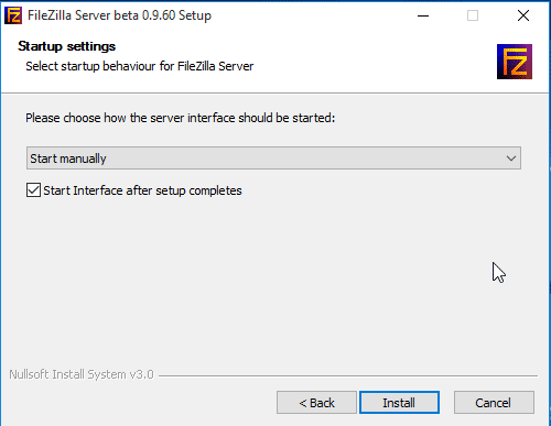Set FileZilla Interface to start manually