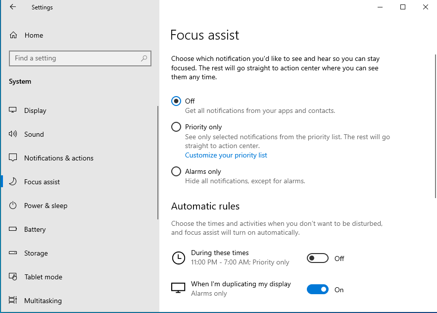 Windows 10 Focus Assist minimize notifications at crucial times