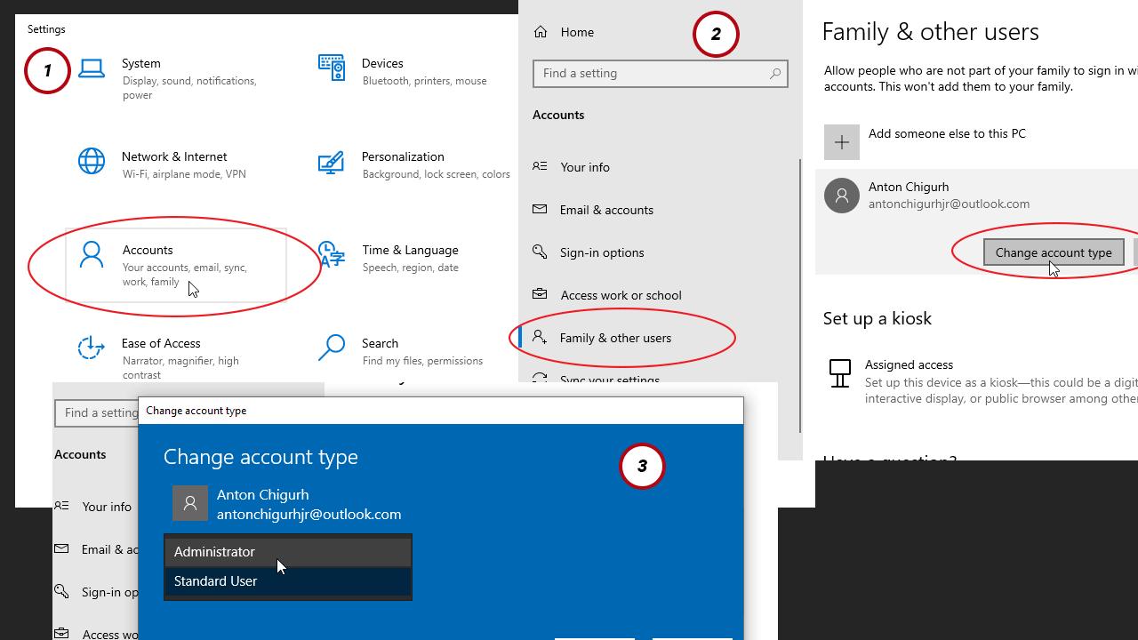 get administrator privileges windows 10