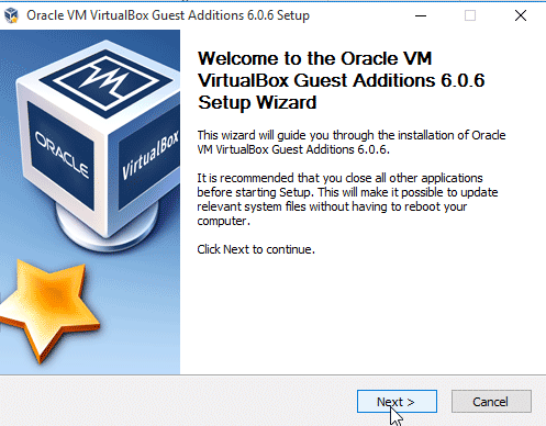 Windows 10 Guest Additions Setup Wizard