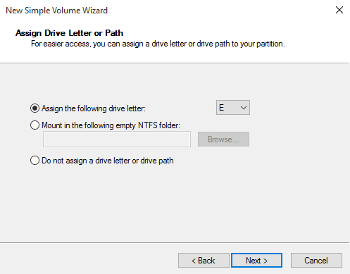Select a Drive Letter for the new Windows 10 Partition