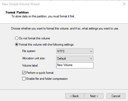 Format New Hard Drive Windows 10