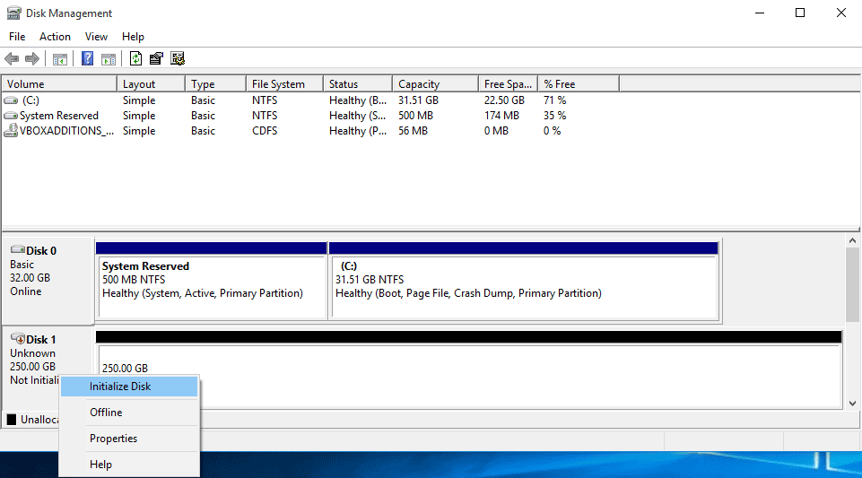 Initialize Disk windows 10