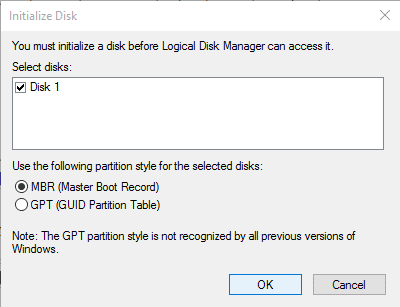 Choose MBR (Master Boot Record) as the Partition style