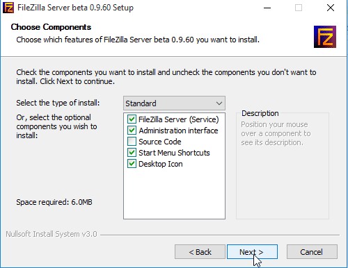 Install FileZilla Server on Windows 10