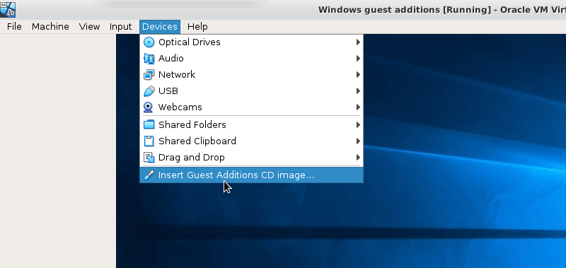 Install Guest Additions ISO Image on Windows 10