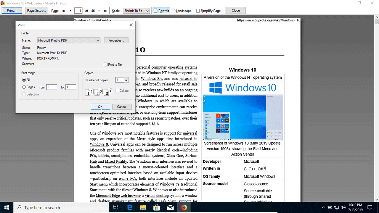 Print Any Page as a PDF in Windows 10 with Microsoft Print to PDF