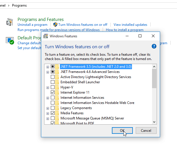 install .NET framework 3.5 windows 10