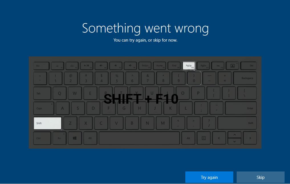 Something went wrong OOBEREGION in Windows 10