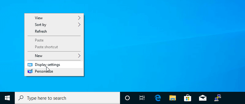 Right click anywhere on your desktop and choose Display settings.