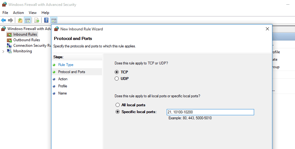 open the Windows Firewall and create a new Inbound rule to allow FTP port 21 and passive port range