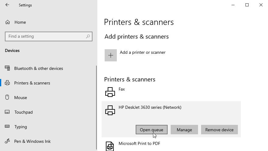 Windows 10 print queue