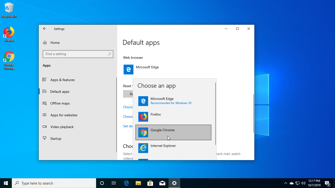 set google chrome as default browser windows 10