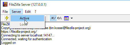 Open the FileZilla server interface. Then, select Server > Active