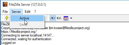 Open the FileZilla server interface. Then, select Server > Active