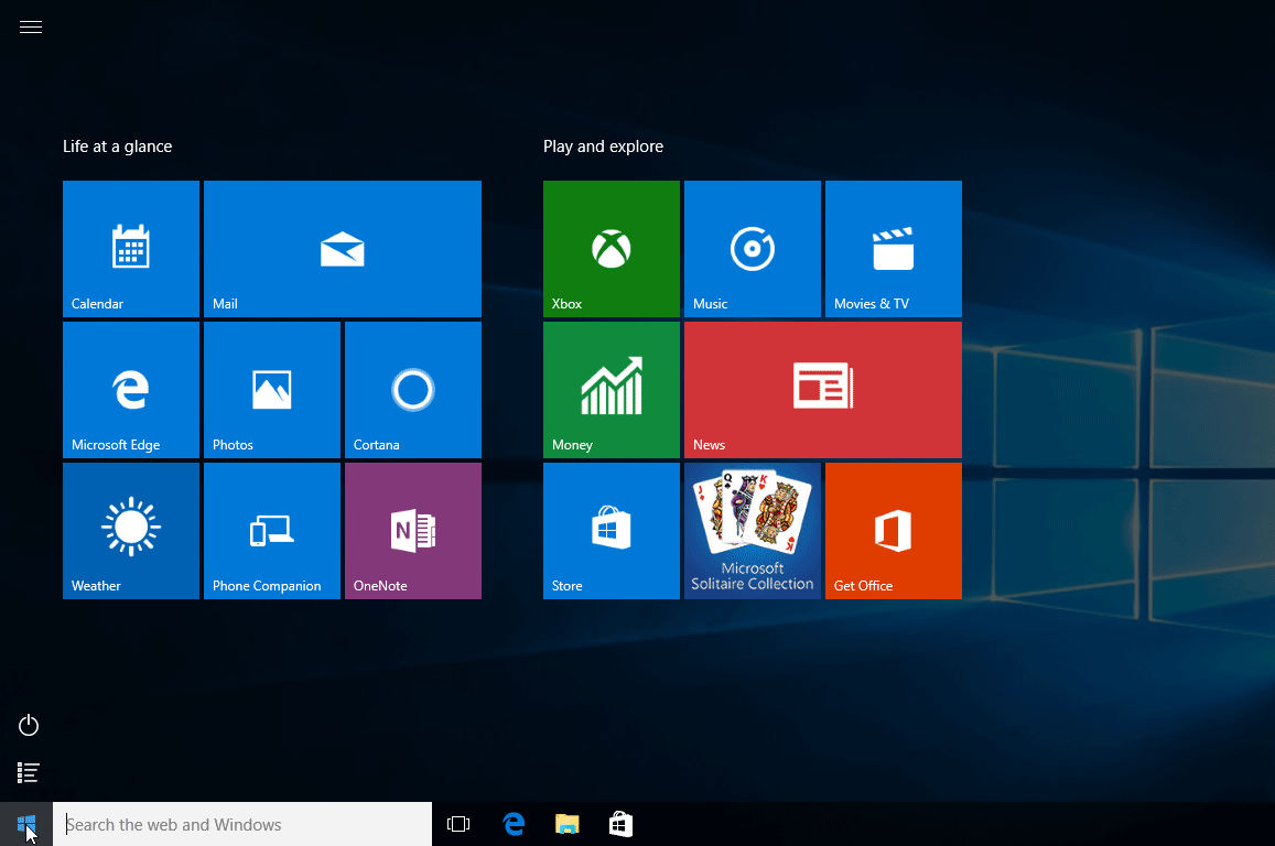 Windows 8 Start Screen on Microsoft Windows 10