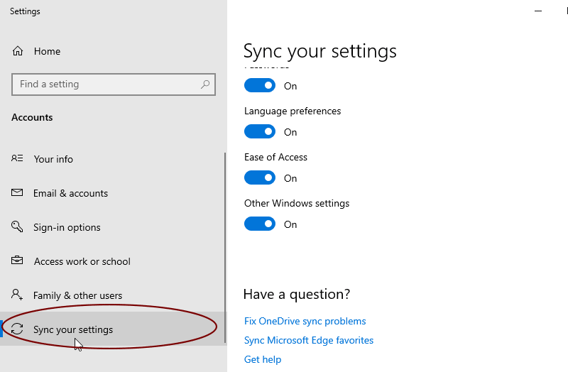 sync account details with your Windows 10 PC