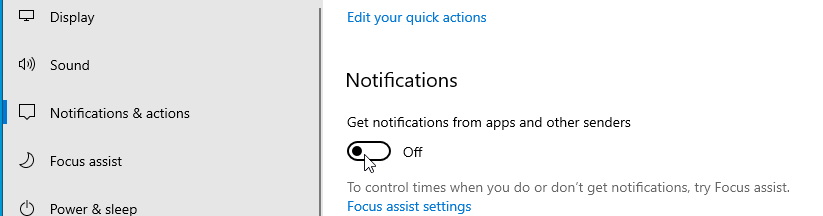 turn off notifications windows 10
