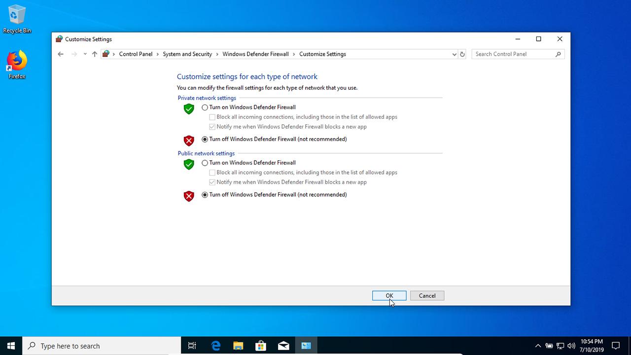 Turn Windows Defender Firewall on or off in Windows 10
