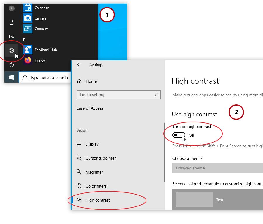 windows 10 high contrast mode