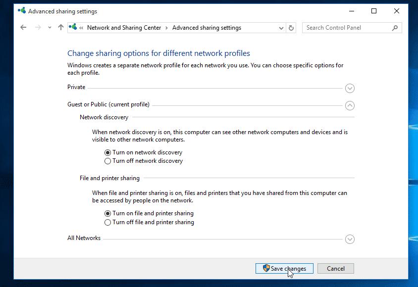 Turn on Network Discovery and File Sharing in Windows 10