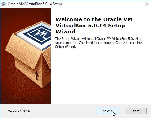 start installing VirtualBox