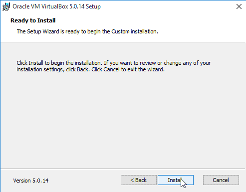 begin the VirtualBox installation on Windows 10