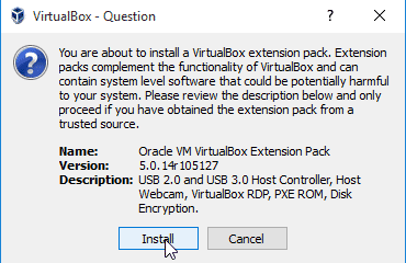 How to Install VirtualBox Extension pack on Windows 10