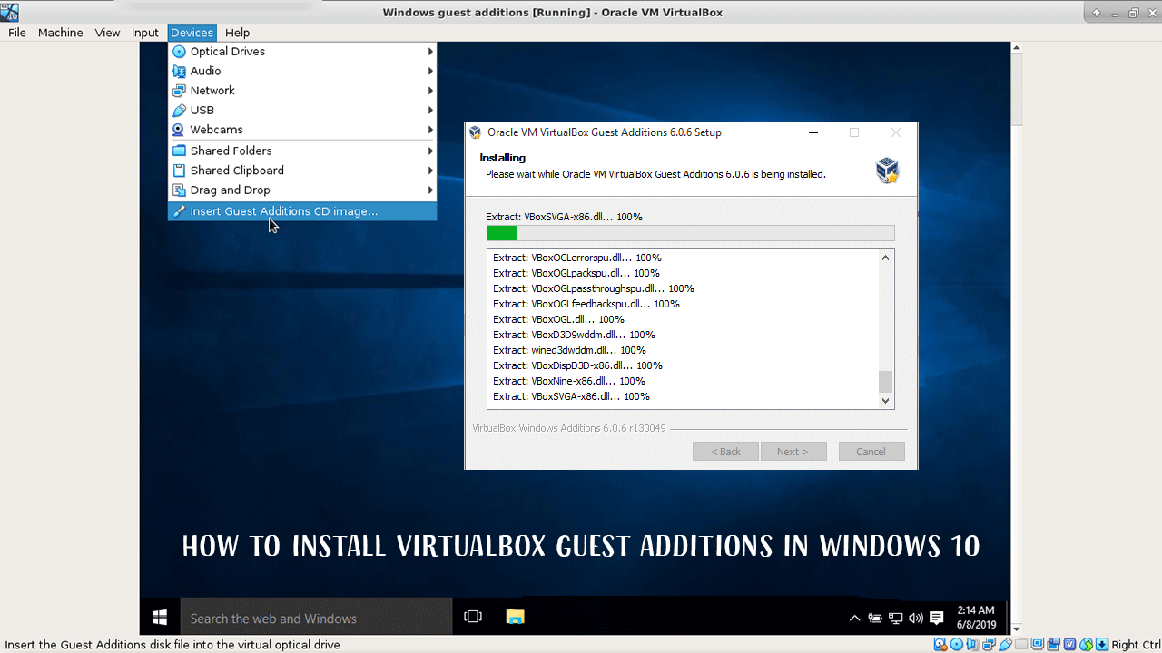 How to Install VirtualBox Guest Additions in Windows 10