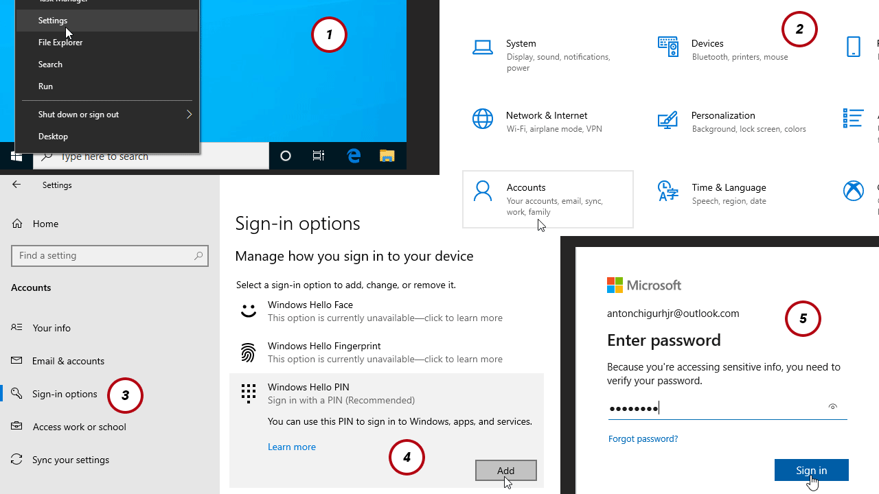 How to Set-up Windows Hello Pin in Microsoft Windows 10