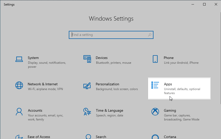 Windows 10 Apps Settings