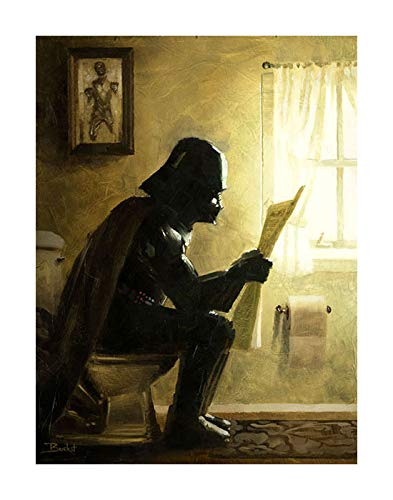 "Serenity by Bucket - Star Wars Darth Vader Parody - 12"" x 9"" Gallery Wrapped Canvas Bathroom Wall Art"
