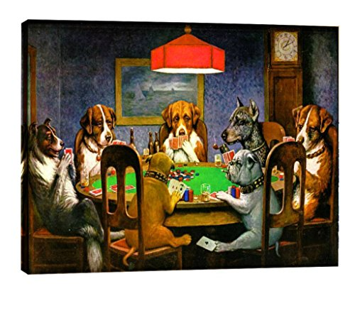 Eliteart-Dogs Playing Poker by Cassius Marcellus Coolidge Oil Painting Reproduction Giclee Wall Art Canvas Prints