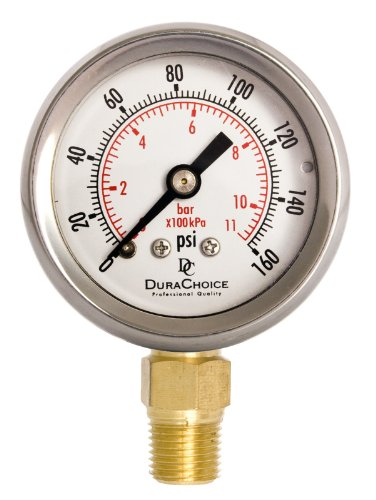 """1-1/2"""" Oil Filled Pressure Gauge - Stainless Steel Case, Brass, 1/8"""" NPT, Lower Mount Connection 0-160PSI"""