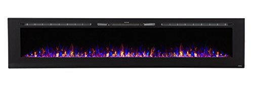 Touchstone 80032 - Sideline Electric Fireplace - 100 Inch Wide - in Wall Recessed - 5 Flame Settings - Realistic 3 Color Flame - 1500/750 Watt Heater - (Black) - Log & Crystal Hearth Options