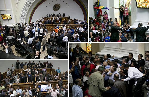 Chavistas irrumpen sesión de Asamblea Nacional para defender a Maduro