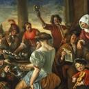 ALEGRE REUNIÓN en una pérgola (La familia de los gatos), 1673-75, Jan Steen.