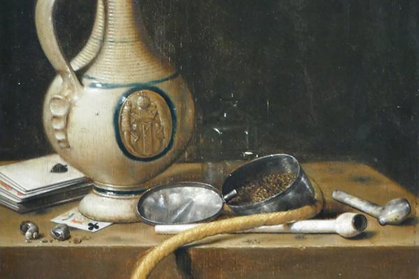 NATURALEZA MUERTA con parafernalia para fumar, 1650, Jan van de Velde III.