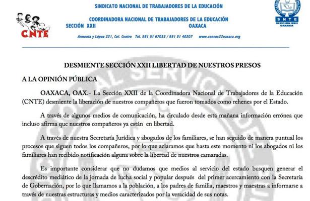 Desmiente Sección 22 libertad de sus presos