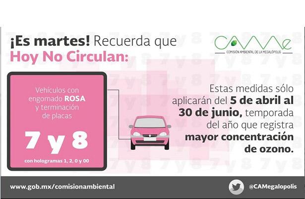 Autos con engomado rosa dejan de circular