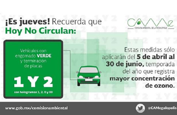 No circulan hoy vehículos con engomado verde, con terminación de placas 1 y 2