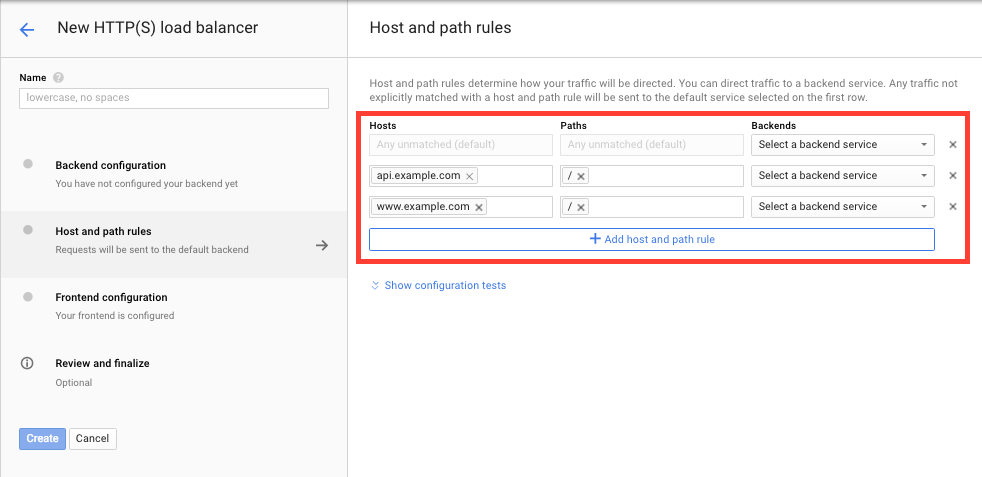 Host & Path Rules